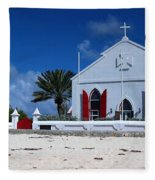 Beach Grand Turk Church Fleece Blanket