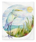 Beach Heron Fleece Blanket