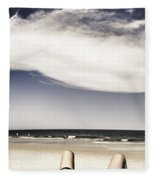 Beach Holiday Man Vertical Panorama Fleece Blanket