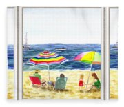Beach House Window Fleece Blanket