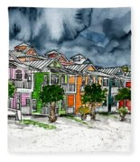 Beach Houses Watercolor Painting Fleece Blanket