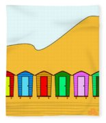 Beach Huts And Sand Fleece Blanket