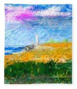 Beach Lighthouse Fleece Blanket