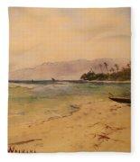 Beach Of Waikiki  Fleece Blanket