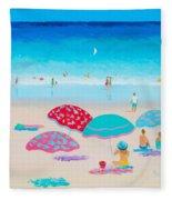 Beach Painting - A Golden Day Fleece Blanket