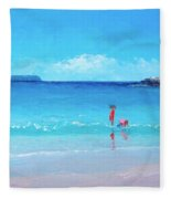 Beach Painting - A Sea Breeze Fleece Blanket