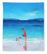 Beach Painting - Cooling Off Fleece Blanket