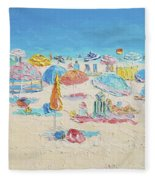 Beach Painting - Crowded Beach Fleece Blanket