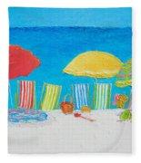 Beach Painting - Deck Chairs Fleece Blanket