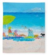 Beach Painting - Lazy Beach Day Fleece Blanket