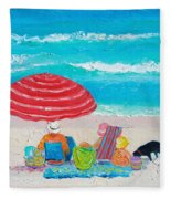 Beach Painting - One Summer Fleece Blanket