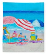 Beach Painting - Summer Beach Vacation Fleece Blanket