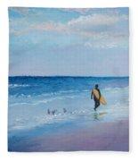 Beach Painting - The Lone Surfer Fleece Blanket