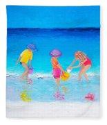 Beach Painting - Water Play  Fleece Blanket