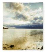 Beach Panorama Of A Sunrise Over The Sea Fleece Blanket