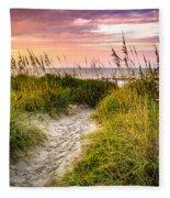 Beach Path Sunrise Fleece Blanket