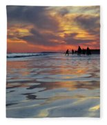 Beach Play At Dusk Fleece Blanket