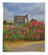 Beach Roses And Cottages Fleece Blanket