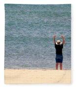 Beach Side Exercises Fleece Blanket