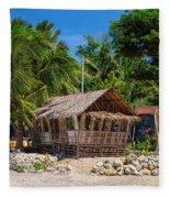 Beach Side Nipa Hut Fleece Blanket