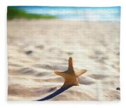 Beach Starfish Wood Texture Fleece Blanket