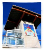Beach Tower In Blue Sky Fleece Blanket