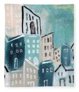 Beach Town- Art By Linda Woods Fleece Blanket