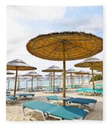 Beach Umbrellas And Chairs On Sandy Seashore Fleece Blanket