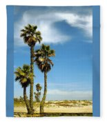 Beach View With Palms And Birds Fleece Blanket