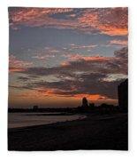 Beach Walk At Sunset Fleece Blanket