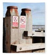 Beach Warning Fleece Blanket