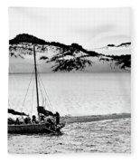 Beached At Coorong Bw Fleece Blanket
