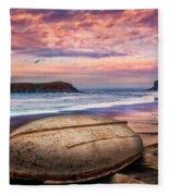 Beached At Sunset Fleece Blanket