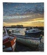 Beached Boats On Trocadero Pipe Puerto Real Cadiz Spain Fleece Blanket