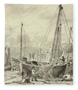Beached Fishing Boats With Fishermen Mending Nets On The Beach At Brighton, Looking West Fleece Blanket