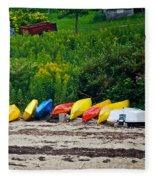 Beached Kayaks Fleece Blanket