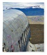 Beached Plane Wreckage - Iceland Fleece Blanket