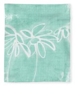 Beachglass And White Flowers 3- Art By Linda Woods Fleece Blanket