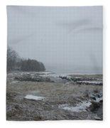 Beals Cove During A Snow Storm Fleece Blanket