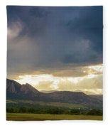 Beams Of Sunlight On Boulder Colorado Foothills Fleece Blanket