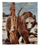 Bear And Stump Fleece Blanket