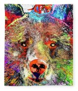 Bear Colored Grunge Fleece Blanket