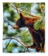Bear Cub In A Tree 3 Fleece Blanket