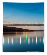 Bear Mountain Bridge At Dusk. Fleece Blanket