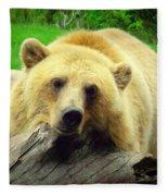 Bear On A Log Fleece Blanket