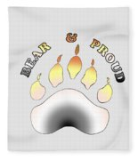 Bear Pride Paw With Text Fleece Blanket