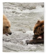 Bear Watches Another Eat Salmon In River Fleece Blanket