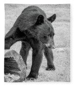 Bear's Log Stash Of Treats - Black And White Fleece Blanket