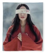Beautiful Asian Woman With Red Sensual Lips Standing In The Snow Fleece Blanket
