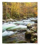Beautiful Autumn Colors Little Pigeon River Smoky Mountains Fleece Blanket